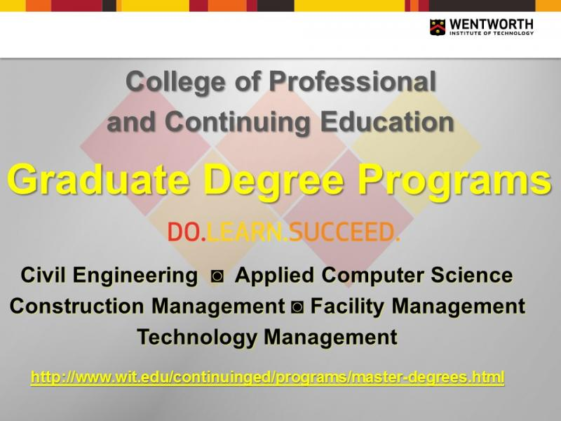 Wentworth Graduate Programs Online and On-campus