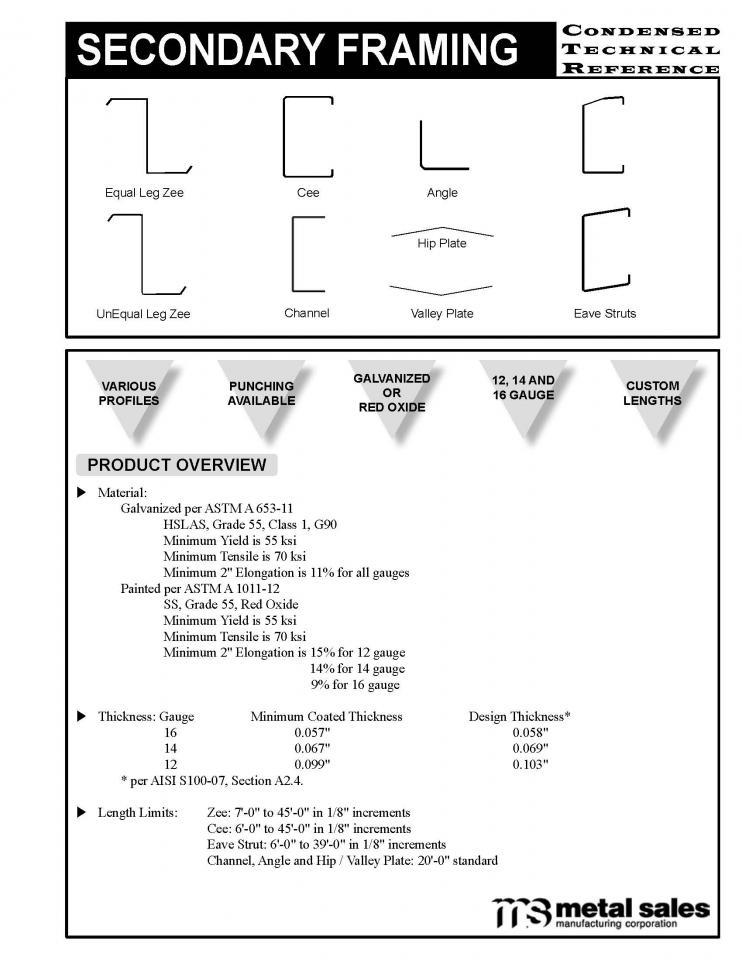 Secondary Framing Commercial | Metal Sales Manufacturing Corporation