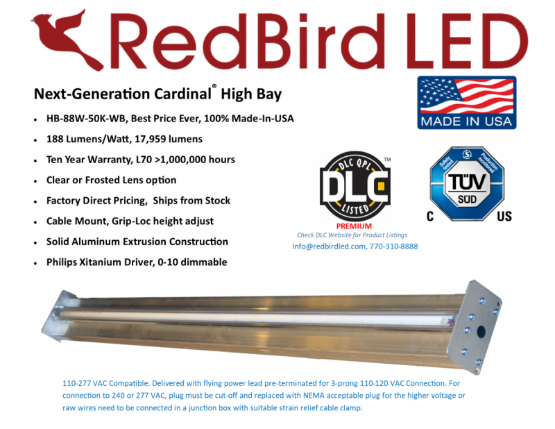 RedBird LED  Next-Generation Cardinal® High Bay  · HB-88W-50K-WB