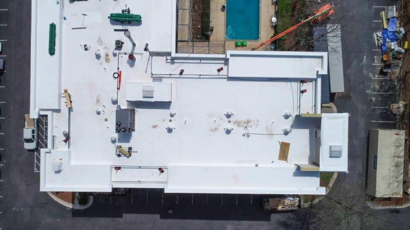 drone photo of rooftop