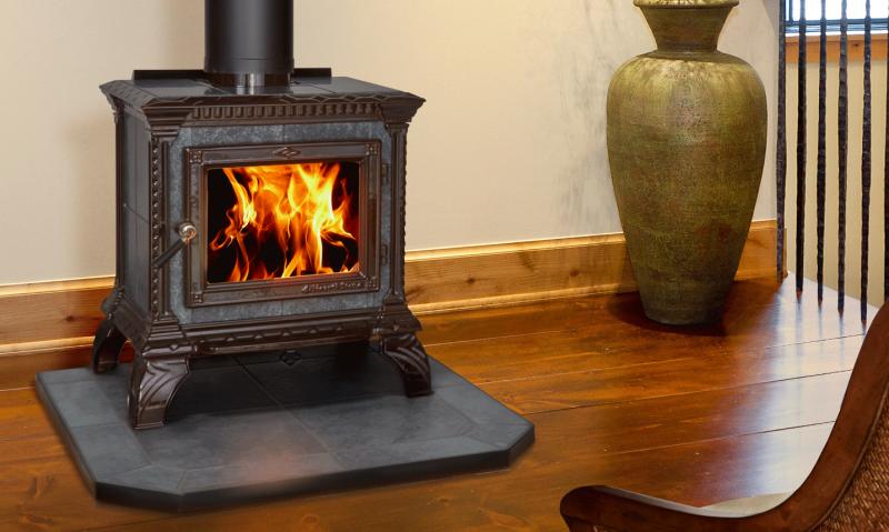 TRIBUTE - MAJOLICA BROWN ENAMEL   Manufactured   Brown Majolica   Enamel   Tribute   Free-Standing Stove   Wood   Cast & Stone   Appliance   hearthstone
