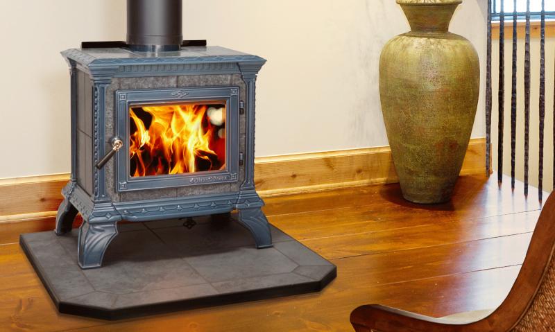 TRIBUTE - SEAFOAM ENAMEL | Manufactured | Seafoam Majolica | Enamel | Tribute | Free-Standing Stove | Wood | Cast & Stone | Appliance | hearthstone