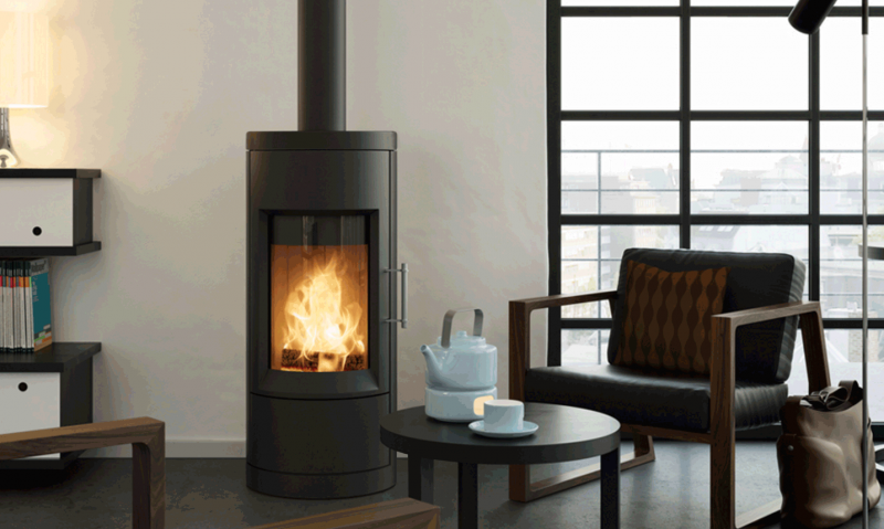 BARI, CHARCOAL - STOVE ONLY, NO STONE | Distributed | Charcoal | Painted | Bari Wood | Free-Standing Stove | Wood | Modern | Appliance | hearthstone