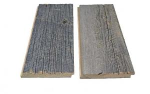 Shiplap milled from reclaimed wood for exteriors.
