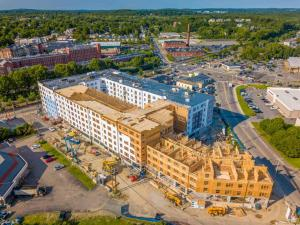 aerial drone photo of apartment building being constructed in Framingham, MA