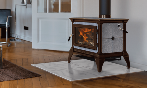 CASTLETON I - MAJOLICA BROWN ENAMEL | Manufactured | Brown Majolica | Enamel | Castleton | Free-Standing Stove | Wood | Cast & Stone | Appliance | hearthstone